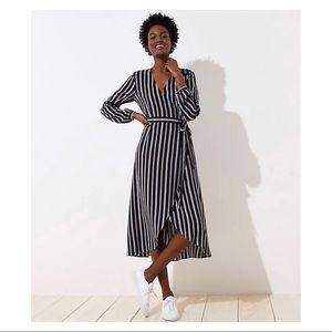Ann Taylor Loft Striped Wrap Midi Dress